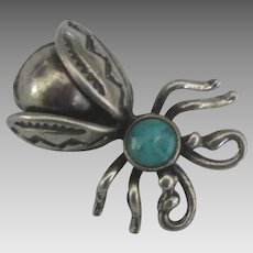 Vintage Native American Sterling Turquoise Insect Pin
