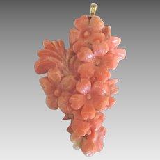 Vintage 14K Carved Angel Skin Coral Cascading Flowers Pendant
