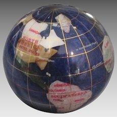 Estate Inlaid Mineral World Globe Paperweight