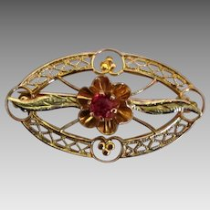 Edwardian 10K Yellow Gold Ruby Brooch