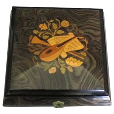 "Italian Inlaid Wooden Music Jewelry Box ""Autumn Leaves"""