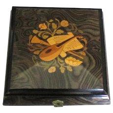 "Italian Inlaid Wooden Music Jewelry Box ""Autumn Leaves"""