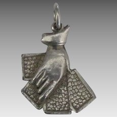 1940's Sterling Hand with Cards Pendant or Charm