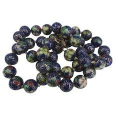 Vintage Chinese Cobalt Blue Floral 12 mm Bead Necklace