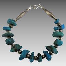 Wonderful Vintage Sterling Turquoise Nugget Bracelet
