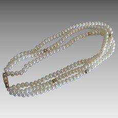 Lovely 14K Freshwater Pearl Triple Strand Bracelet