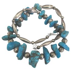 Sterling Bead Chunky Graduated Turquoise Nugget Necklace