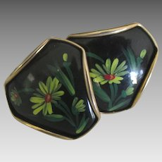 Large 1950's Victoria Flemming HP Porcelain Cufflinks
