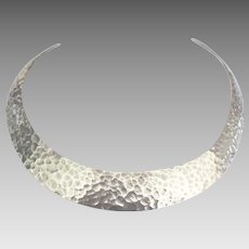 Fabulous Hammered Sterling Collar Necklace- 62 Grams