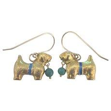 Adorable Puppy Enamel Gold Tone Pierced Earrings