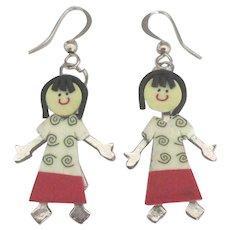 Adorable Vintage Little Girl Figural Pierced Earrings