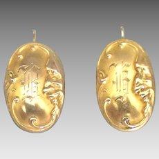 Edwardian Art Nouveau 14K Pierced Earrings