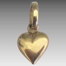 Vintage 14K Petite Puffy Heart Pendant or Charm