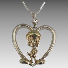 Vintage Sterling Silver Gold Overlay WB Tweety Bird Heart Pendant