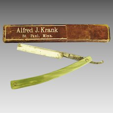 Late 1880's- Early 1900's Straight Razor- Green Celluloid Handle- GD Abrams & Son