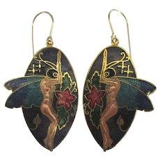 Fabulous Cloisonne Winged Nymph Pierced Earrings