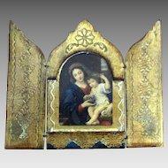 Beautiful Vintage Italian Wooden Religious Triptych