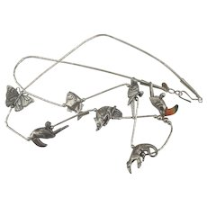 Signed Sterling Animal Fetish Necklace- 20 Inches
