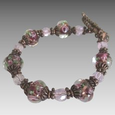 Italian Murano Glass Rose Bead Bracelet