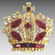 Sparkling Vintage Signed Crown Brooch