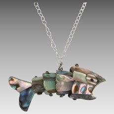 Large Vintage Abalone Articulated Fish Pendant with Sterling Chain