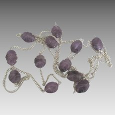 Carved Amethyst Sterling Sautoir Necklace- 36 Inches