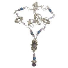 Lacey Sterling Amethyst Drop Necklace with Blue Beads