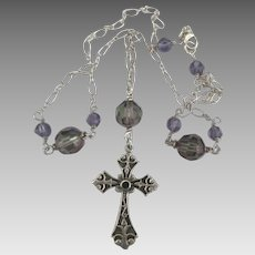 Vintage Ornate Sterling Cross Necklace with AB Crystal Beads