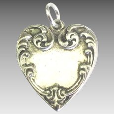 Lovely Sterling Repousse Heart Pendant or Charm