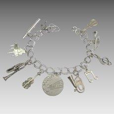 Vintage Sterling Musical Instruments Charm Bracelet