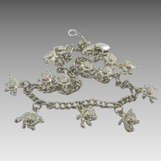 Adorable Vintage Sterling Turtles Charm Bracelet