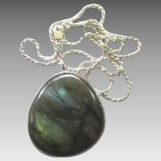 Gorgeous Large Sterling Labradorite Pendant and Chain