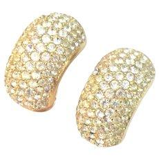 Vintage Dior Pave Rhinestone Earrings