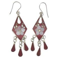 Red Enamel Shell Inlay Dangle Pierced Earrings