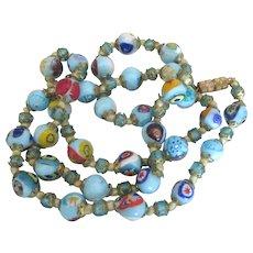 Vintage Italian Blue Murano Art Glass Necklace