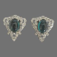 Vintage Green Glass Paste Fur Clip Set of 2