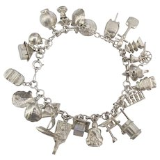 Loaded Asian Theme Sterling Charm Bracelet- 22 Charms