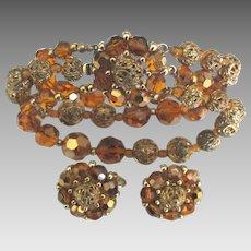 Gorgeous Vintage Marvella 3 Strand Bracelet and Earrings