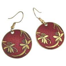 Vintage Red Enamel GP Overlay Leaves Berries Pierced Earrings