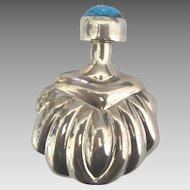 Vintage Taxco Sterling Perfume Bottle with Turquoise