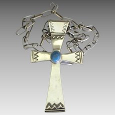 Huge Vintage Sterling Navajo Cross with Paperclip Chain