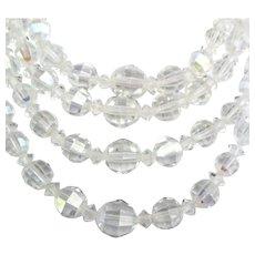 Vintage 4 Strand Graduated AB Crystal Bead Necklace