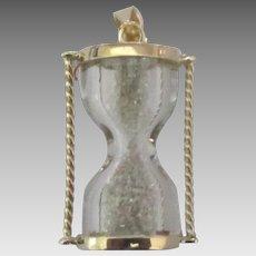 Vintage 10K YG Working Hour Glass Pendant Charm