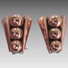 Signed Renoir Copper Bead Earrings
