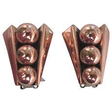 Signed Renoir Copper Bead Earrings