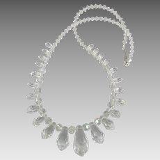 Stunning Vintage Graduated Crystal Tear Drop Necklace