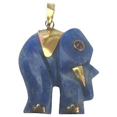 14K YG Lapis Elephant Pendant with Amethyst