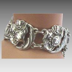 Beautiful Vintage Sterling Flower Blossom Link Bracelet
