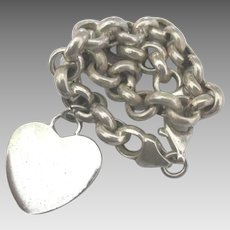 Chunky Sterling Rolo or Belcher Link Bracelet with Heart Charm