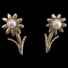 Lovely 14K Pearl Flower Pierced Earrings